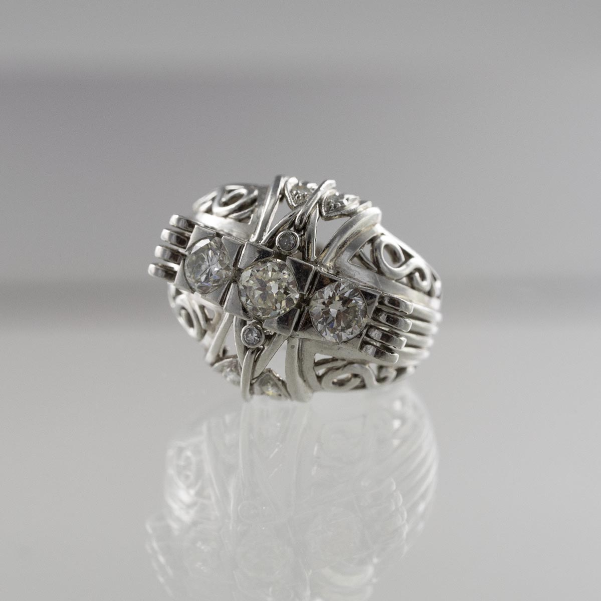 Bague large trilogie diamants