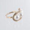Bague trilogie perle entourage diamant