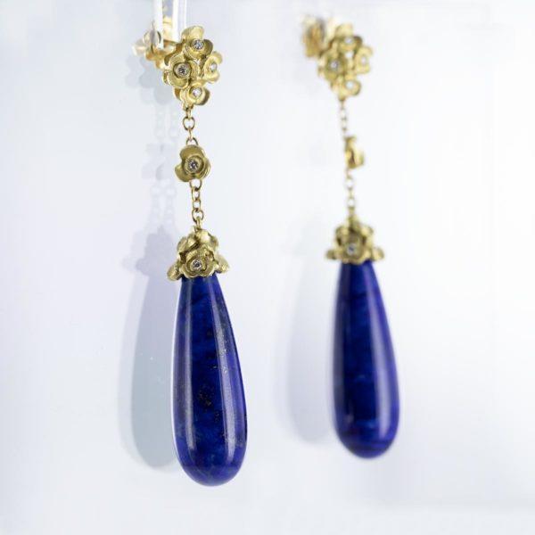 Boucles d'oreilles pendantes LAPIS LAZULI diamants