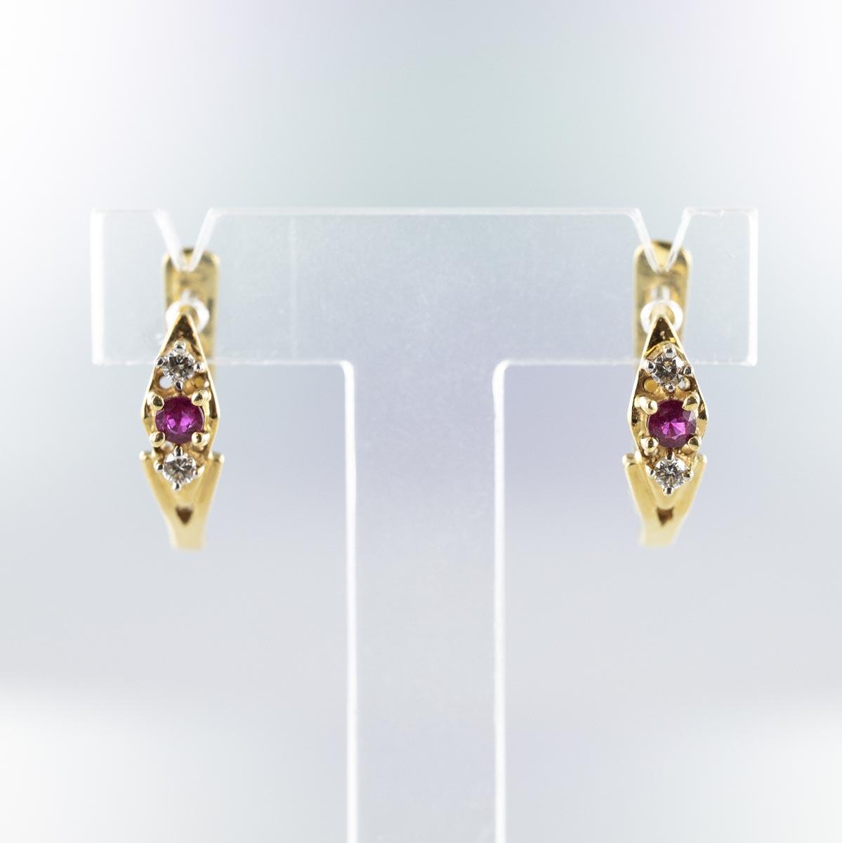 Boucles d'oreilles dormeuses rubis diamants