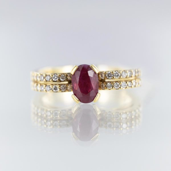 Bague rubis double rang diamants