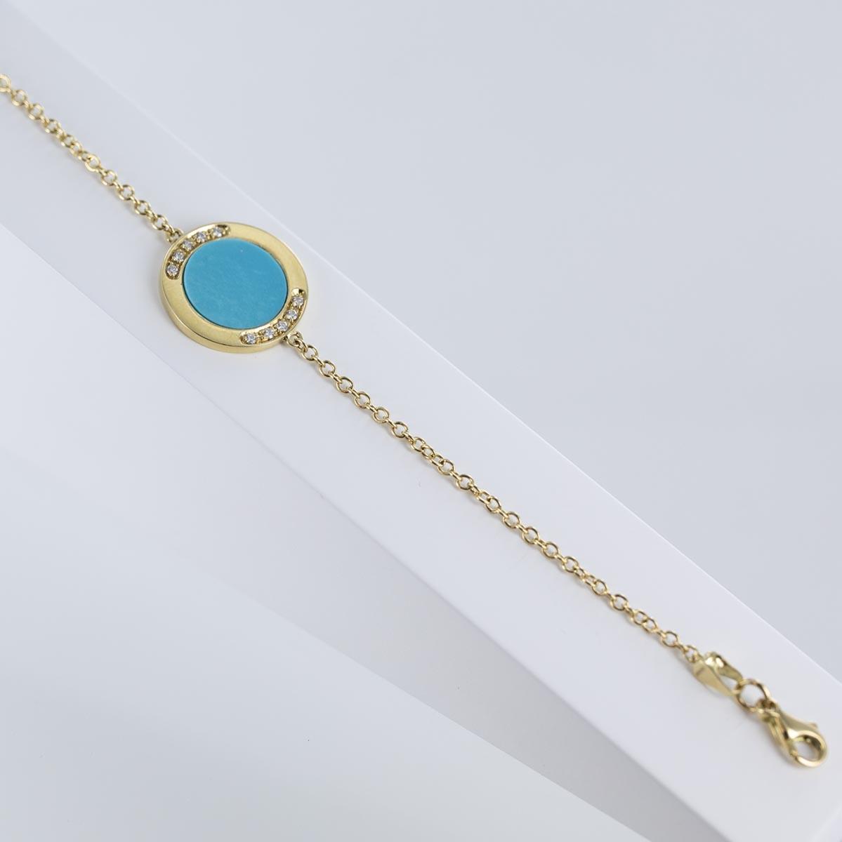 Bracelet motif turquoise et diamants