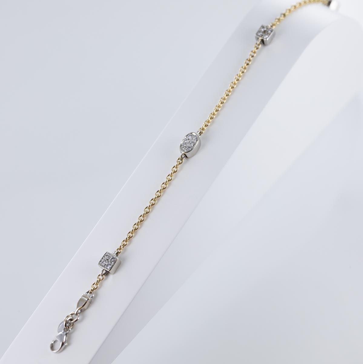 Bracelet 4 motifs pavage diamants sur chaîne