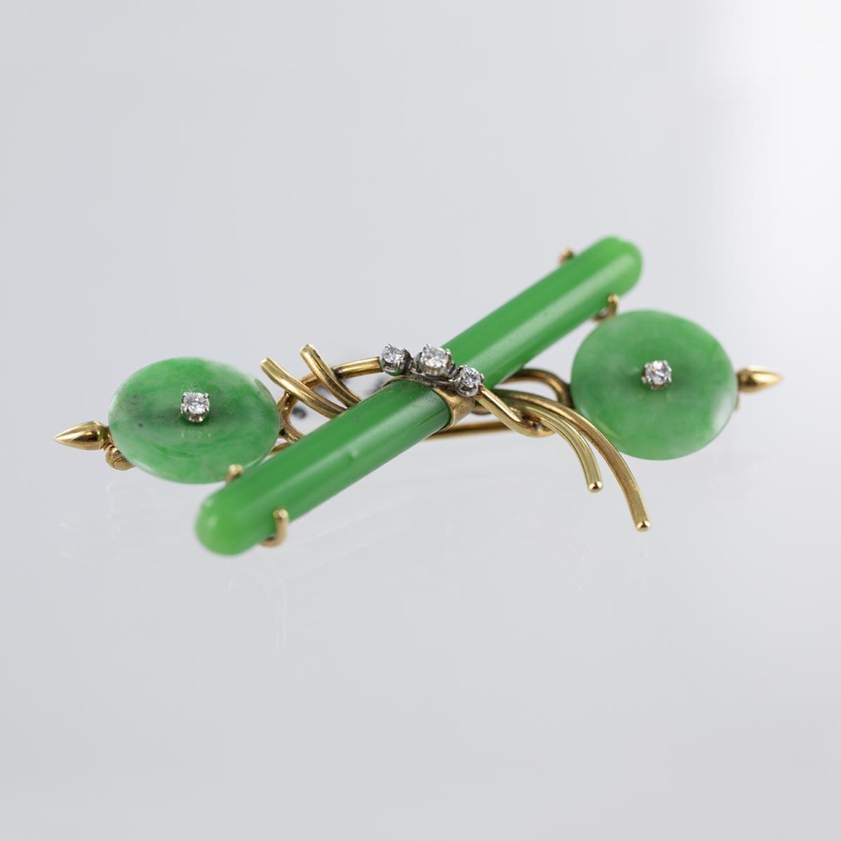 Broche jade et diamants