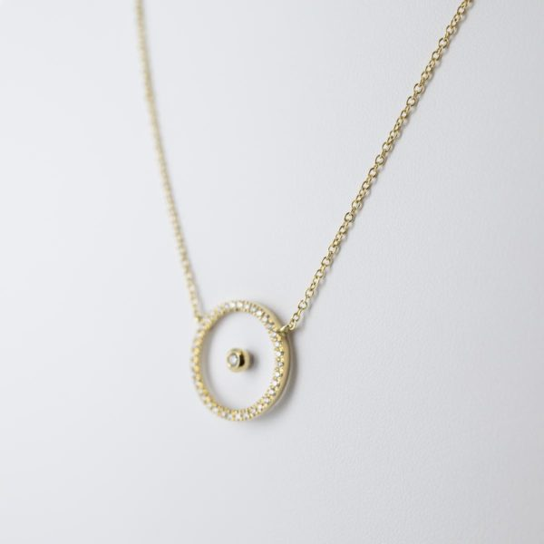 Tour de cou avec motif cercle diamants
