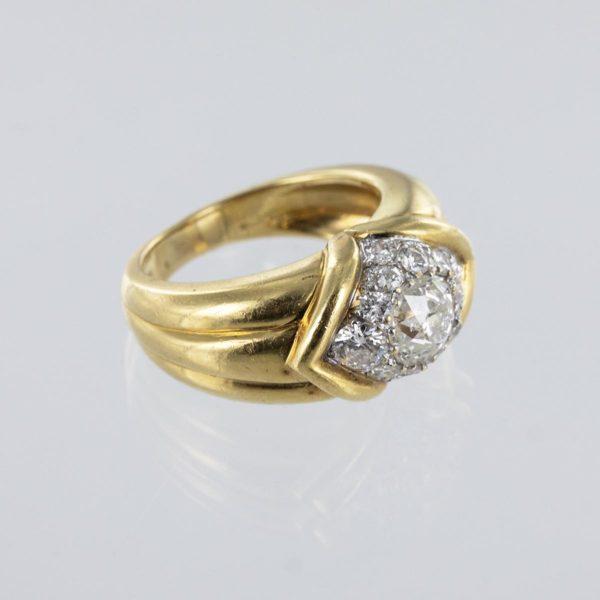 Bague jonc diamants taille ancienne