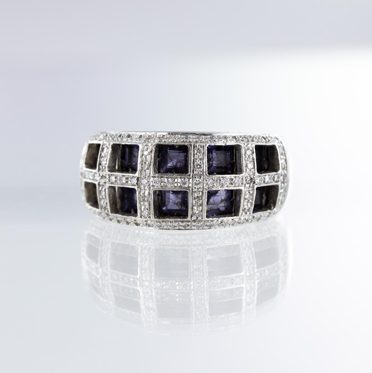 Bague jonc quadrillage diamants