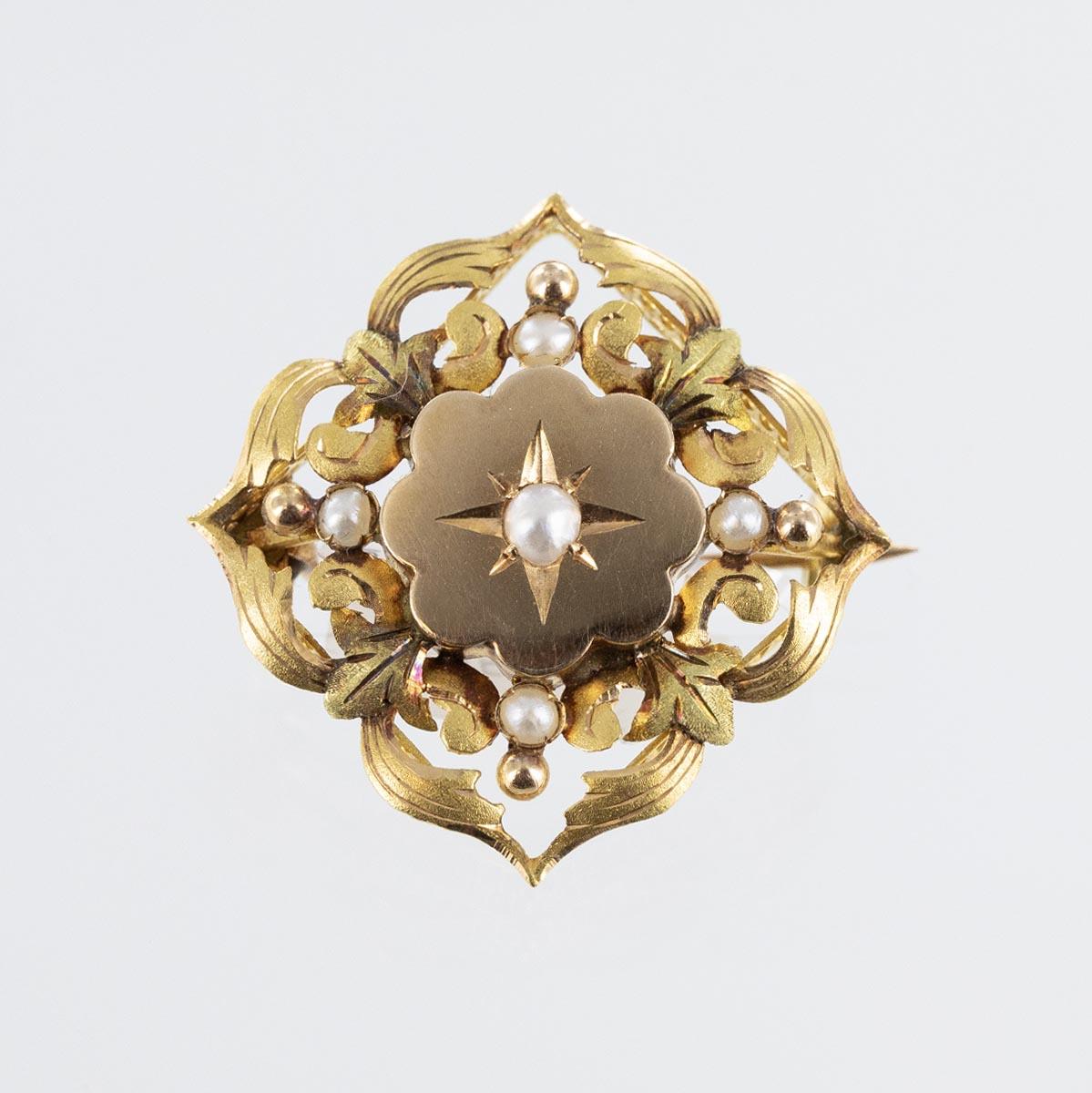 Broche ancienne losange perles