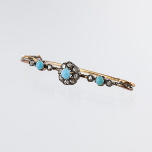 Épingles turquoises et roses de diamants