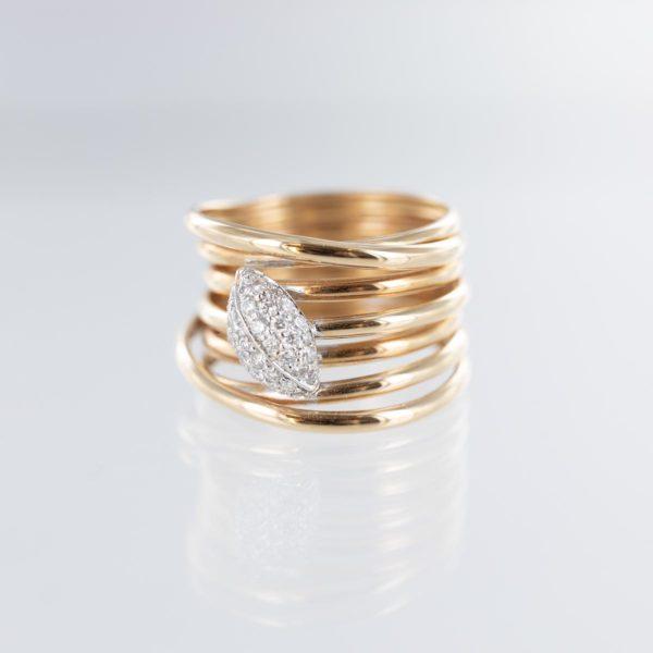 Bague multi fils motif feuille pavage diamants