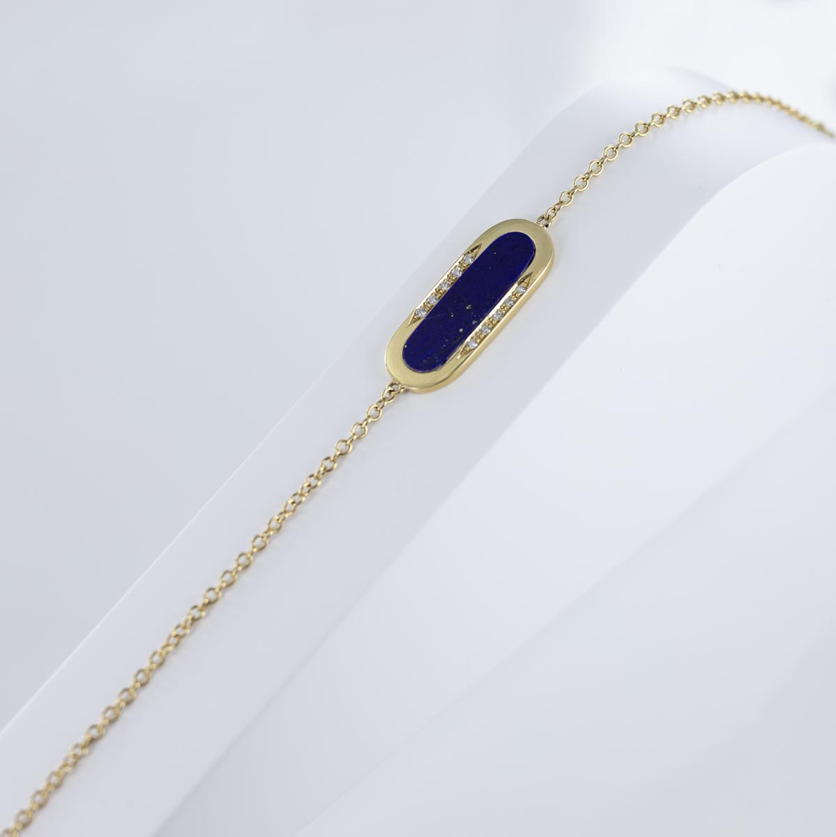 Bracelet lapis lazuli et diamants