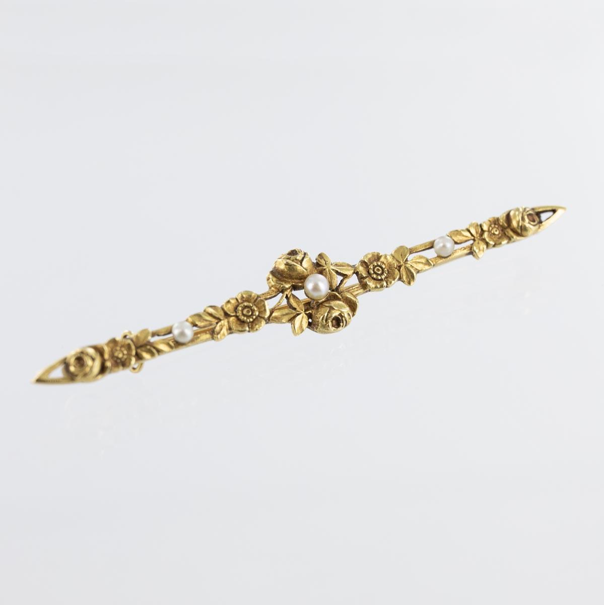 Broche barrette florale 3 perles